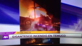 Gigantesco incendio en mercado municipal Temuco