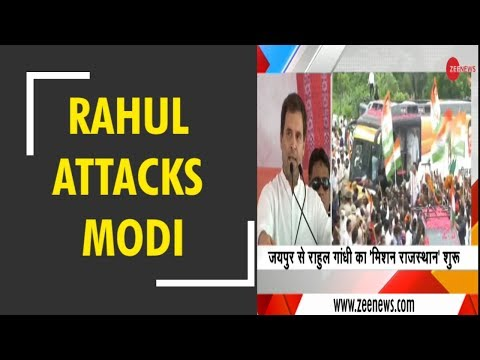 Rahul Gandhi attacks Modi govt in Jaipur after a roadshow
