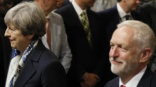 What did May say to Corbyn before Queen's speech?