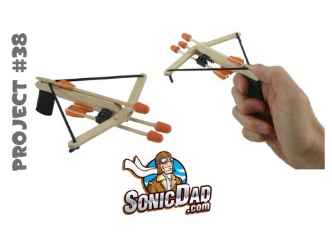 How to Make a Crossbow from Popsicle Sticks: SonicDad Project #38 (Mini Crossbow)