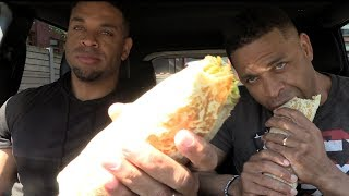 Eating Fat Bastard Burrito Baja Chipotle Chicken Burrito @Hodgetwins