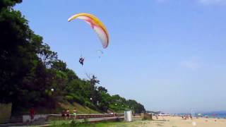 Paragliding Tandem over Black Sea , take off and landings .