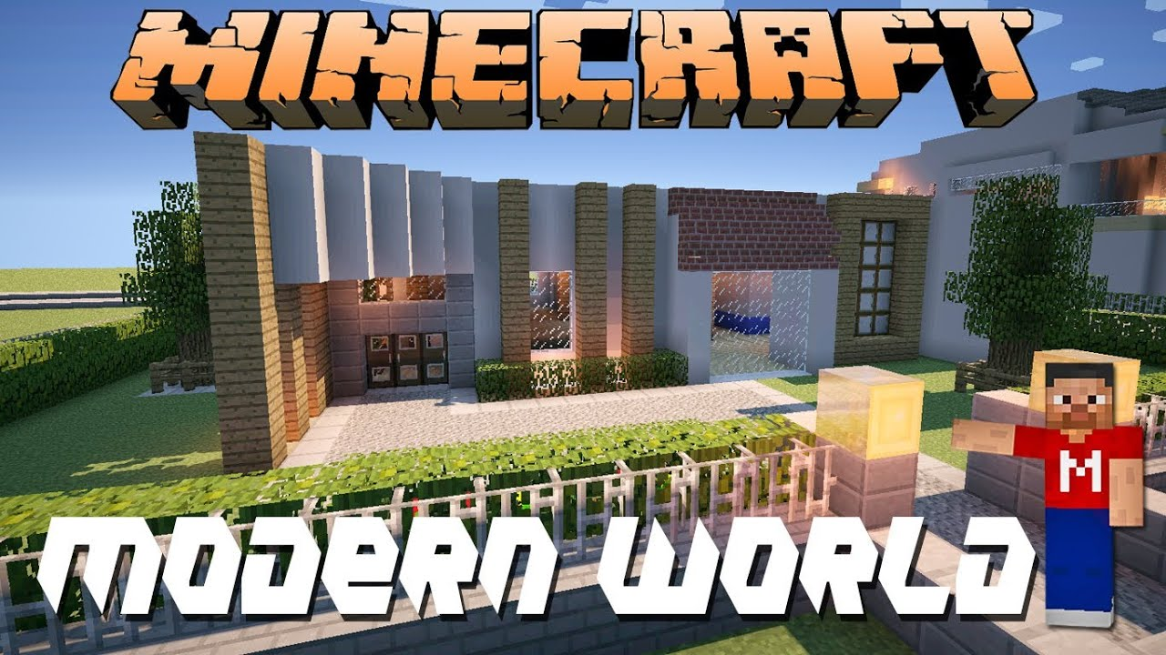 Minecraft modern house modern world youtube for Modern house 45