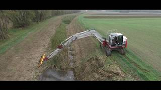 Takeuchi TB2150 - Mowing - Drone Footage