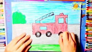Hướng dẫn bé vẽ và tô màu xe cứu hỏa_ How to drawing and coloring a fire  truck