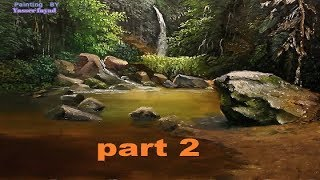 Oil Painting Tropical Landscape  With Rocks  By Yasser Fayad Part 2