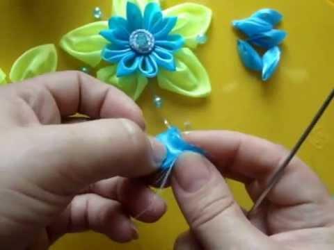 Уроки изготовления цветов из лент - видео
