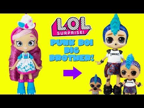 LOL SURPRISE Punk Boi Gets A Big Brother DIY Shopkins Shoppie Doll Makeover