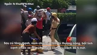 CSGT bị thương nặng sau va chạm với xe tải trên Quốc lộ 5