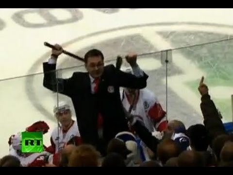 KHL fight video: Angry Vityaz coach Nazarov attacks fans with stick