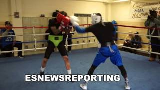 Hank Lundy (white headgear) FULL Sparring looking in killer shape for crawford - EsNews Boxing