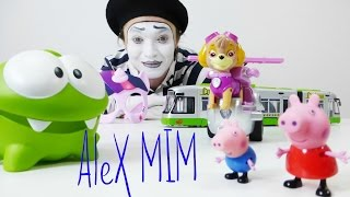 Om Nom, Paw patrol Peppa Pig toys video of Mima Alex Ам Ням, Щенячий патруль, Свинка Пепа видео