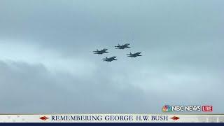 Bush's casket taken off train to garden. Missing man formation