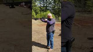 Dan shooting the Remington 870 Tatical Shotgun.
