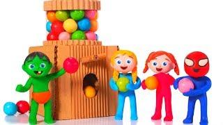 SUPERHERO BABIES BUILD A GUMBALL MACHINE ❤ SUPERHERO PLAY DOH CARTOONS FOR KIDS