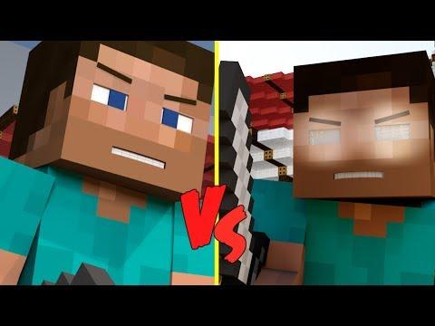 Minecraft Herobrine Vs Steve Steve v.s herobrine (minecraft
