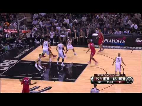 NBA, playoff 2014, Spurs vs. Trail Blazers, Round 2, Game 5, Move 1, LaMarcus Aldridge, airBall
