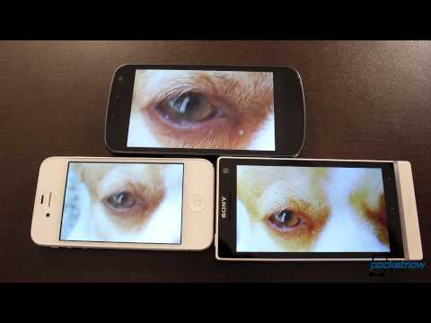 Sony Xperia S vs. Samsung Galaxy Nexus and iPhone 4S In Screen Quality