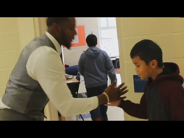 Teacher has personalised hand shake for every student