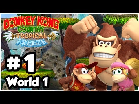 Donkey Kong Country Tropical Freeze - Part 1 - World 1 Co-Op: Mangrove Cove (100% 1080p Wii U HD)