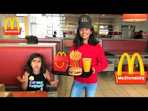 Kids pretend play working at McDonald's with surprise toys part 3