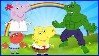 PEPPA PIG HULK VS SPONGE BOB SQUARE PANTS HULK VS ANGRY BIRDS NEW DISGUISE SE DISFRAZA