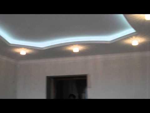 Потолок из гипсокартона с подсветкой от начало до финиша HD plasterboard with backlight