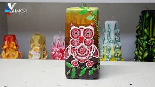 Exclusive Carved Candle Kub With A Picture Quot Owl Quot From Candle Workshop Dimsi