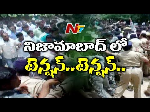 Tension In Nizamabad | Farmers Protest Demanding Govt to Release Water From Sriram Sagar Project