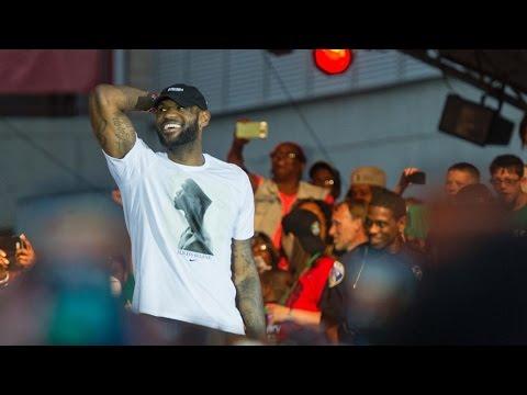 LeBron James returns to Akron Ohio with the NBA CHAMPIONSHIP!