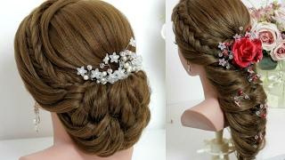 Hairstyles for long hair tutorial. Bridal updo, mermaid braid