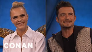 Cara Delevingne & Orlando Bloom Explain The Mechanics Of Fairy Sex - CONAN on TBS