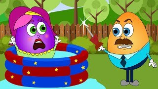 Humpty Dumpty Family in the pool 💗 Surprise Eggs Play Doh Nursery Rhymes