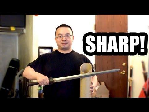 Damascus Han Jian (Chinese Sword) Cutting Test On Mailing Tube (Hilarious!)