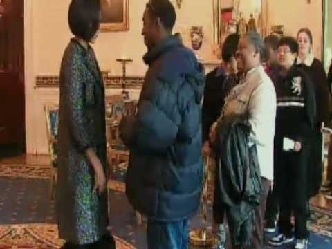 Michelle Surprises White House Visitors