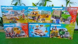 Fire Truck, Garbage Trucks, Cement Mixer & Wild Life PLAYMOBIL Construction Toy Vehicles for Kids