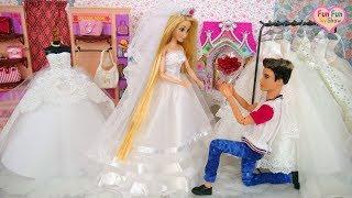 Barbie Ken Rapunzel dolls Wedding Dress Shopping Robe de mariée poupée Barbie boneka gaun pernikahan