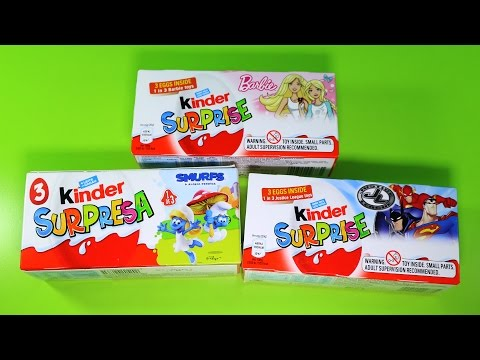 9 Surprise Eggs Magic Kinder Justice League The Smurfs 3 Barbie Sprinty Youmitik