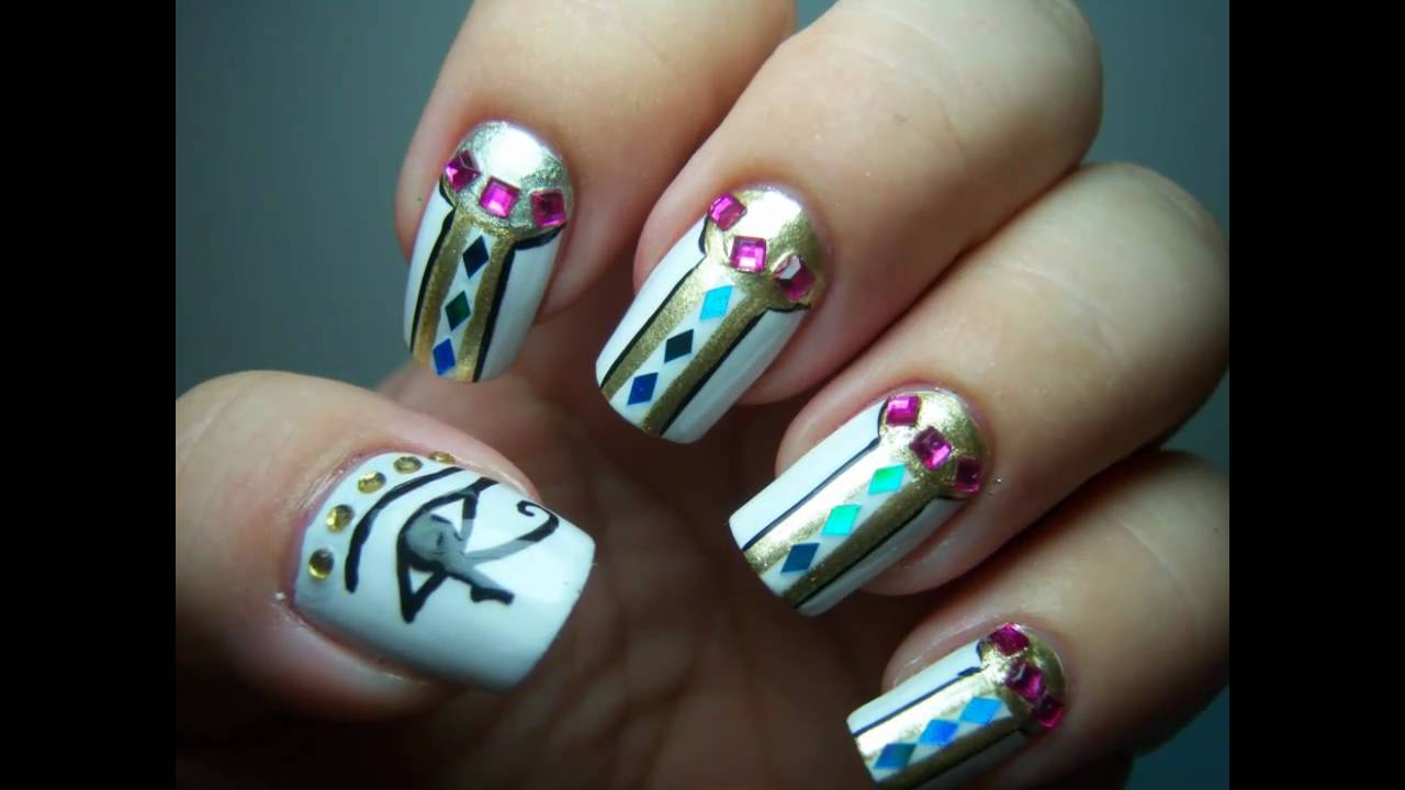 Egyptian cleopatra halloween nail art design youtube