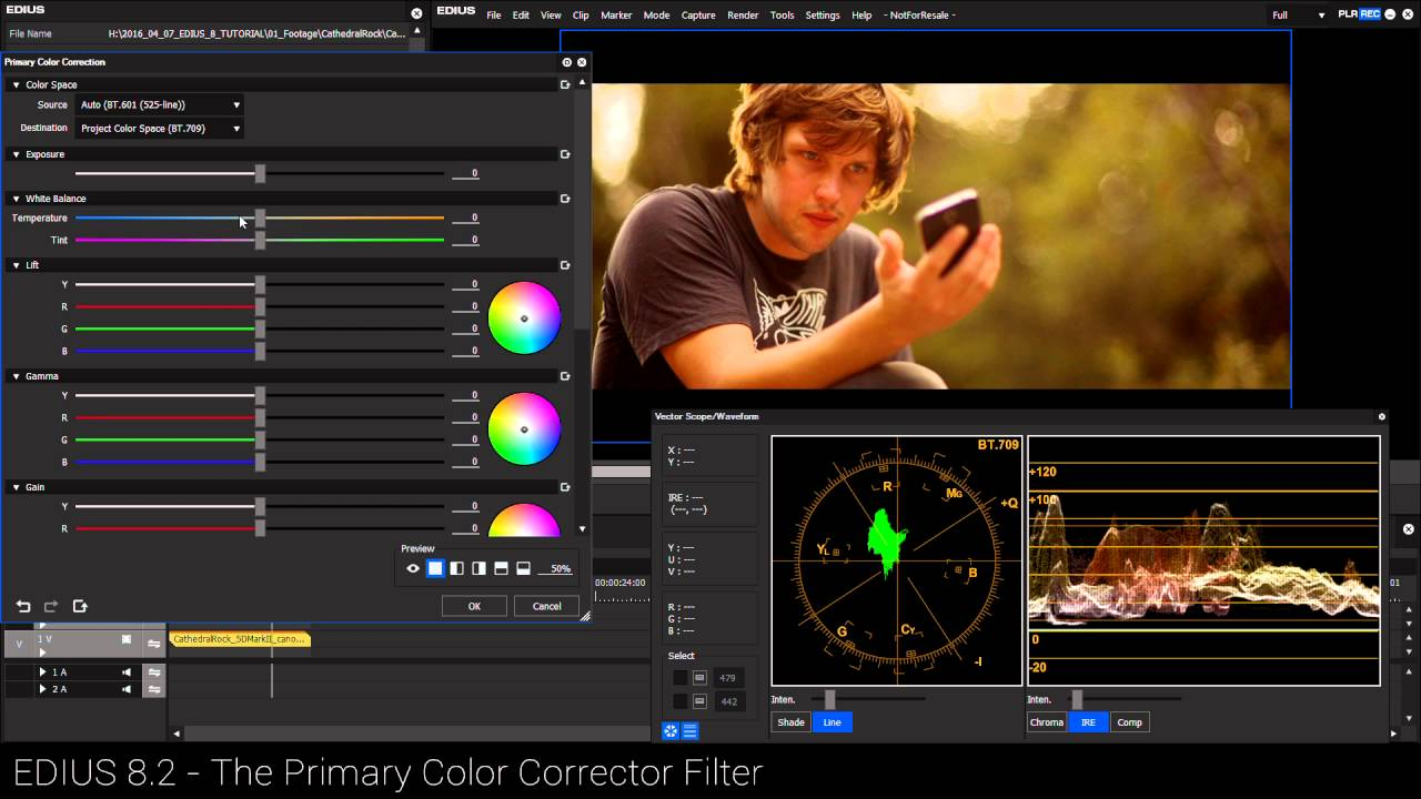 The three way colour correction (known as the white balance filter in edius 5) is a great colour correction tool