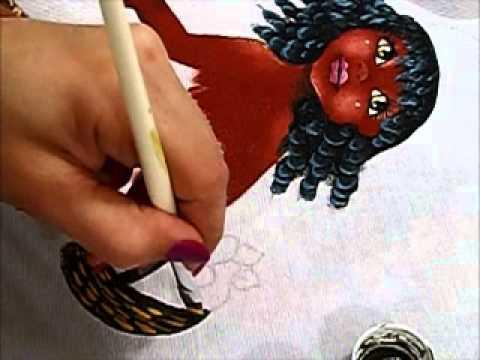 Pintura em tecido - Boneca Patrícia - Como pintar boneca negra 2-2 - how to pai