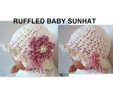 CROCHET HAT, DIY RUFFLED BABY SUNHAT, how to diy, cute summer hat ...