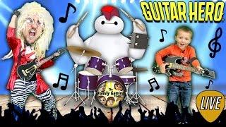 FGTEEV DUDDY plays GUITAR HERO Live!  Ghost Busters, Star Wars & Baymax Song (WORST CROWD EVER!)