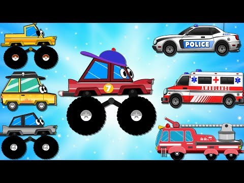 Cars & Trucks Cartoons w Red Fire Truck, Ambulance, Police Car | Emergency Cars Kids Cartoon videos