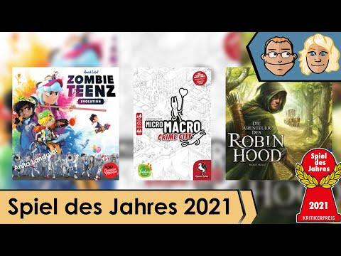 Spiel des Jahres 2021 - nominiert sind MicroMacro, Zombie Teenz & Robin Hood - Talk mit Anita