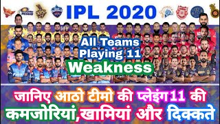 IPL 2020 - All Teams Playing 11 Weakness and Problems After IPL Auction | MY Cricket Production