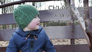Детская шапка мальчику с косами спицами 🦎 Childrens hat knitting pattern