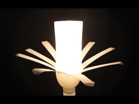 Cómo realizar una lámpara con dos botellas de plástico blancas.Lamp