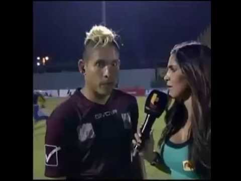 A player in Venezuela was giving his post match interview on the pitch