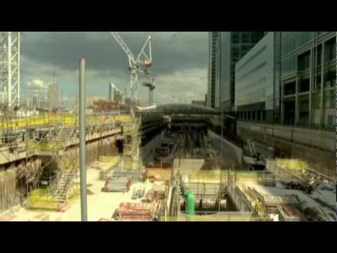 Construction progress at Canary Wharf Crossrail station, June 2011